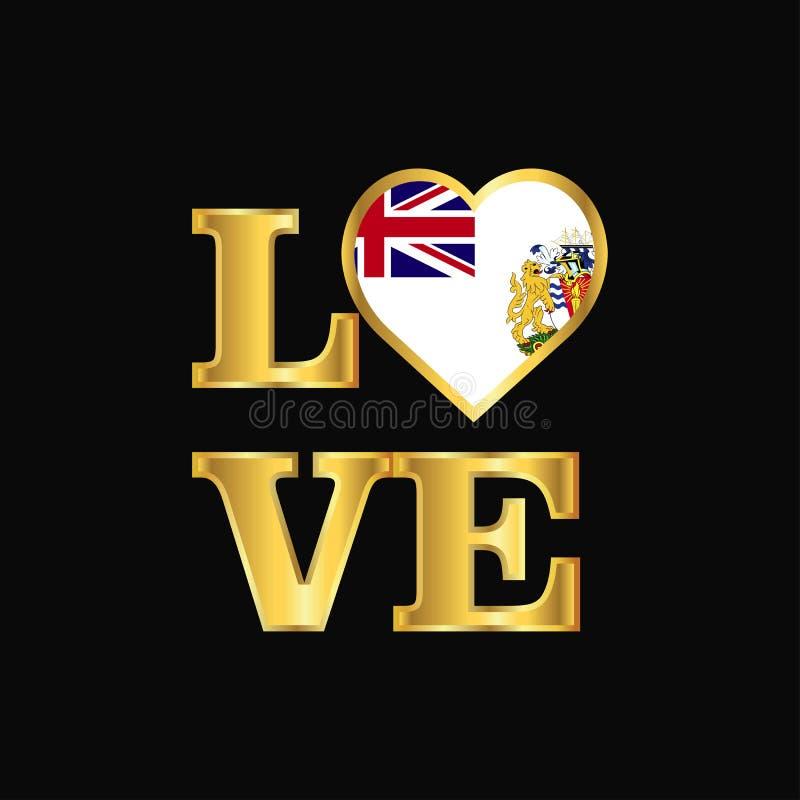 Vecteur antarctique britannique G de conception de drapeau de territoire de typographie d'amour illustration de vecteur