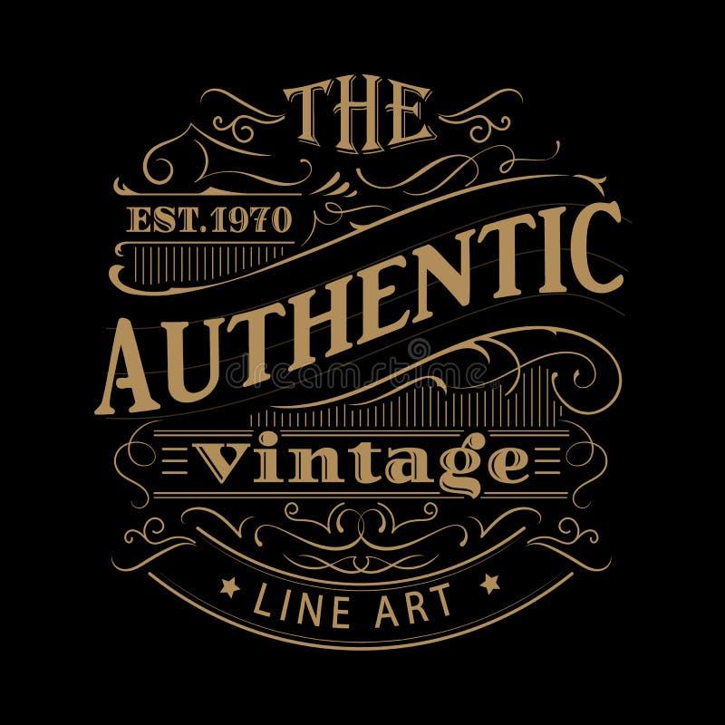 Vecteur antique tiré par la main occidental de typographie de cadre de label de vintage illustration de vecteur