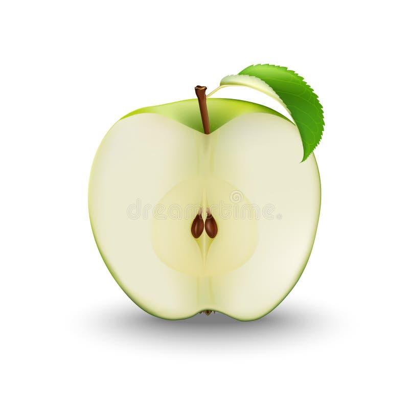 Vecteur Apple vert réaliste coupé dans la moitié avec les graines et la feuille SL illustration libre de droits