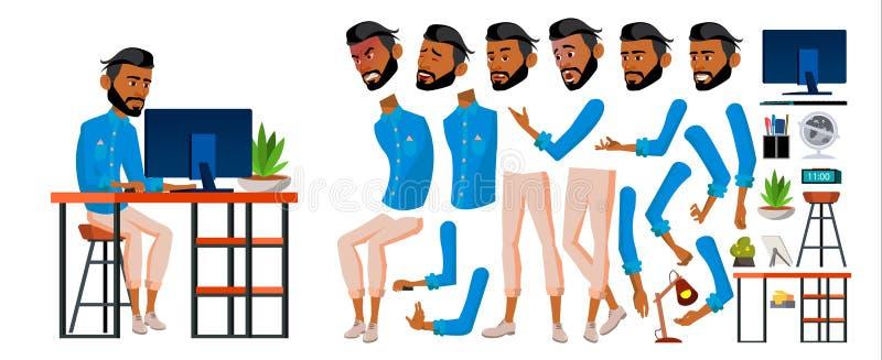 Vecteur arabe d'employé de bureau d'homme Ensemble de création d'animation d'affaires Émotions de visage, gestes Entrepreneur adu illustration stock
