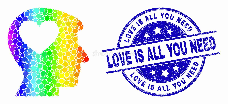 Vecteur Arc-en-ciel Point coloré Lovely Heart Man Head Icon et Scratched Love Is All You Need Seal illustration stock