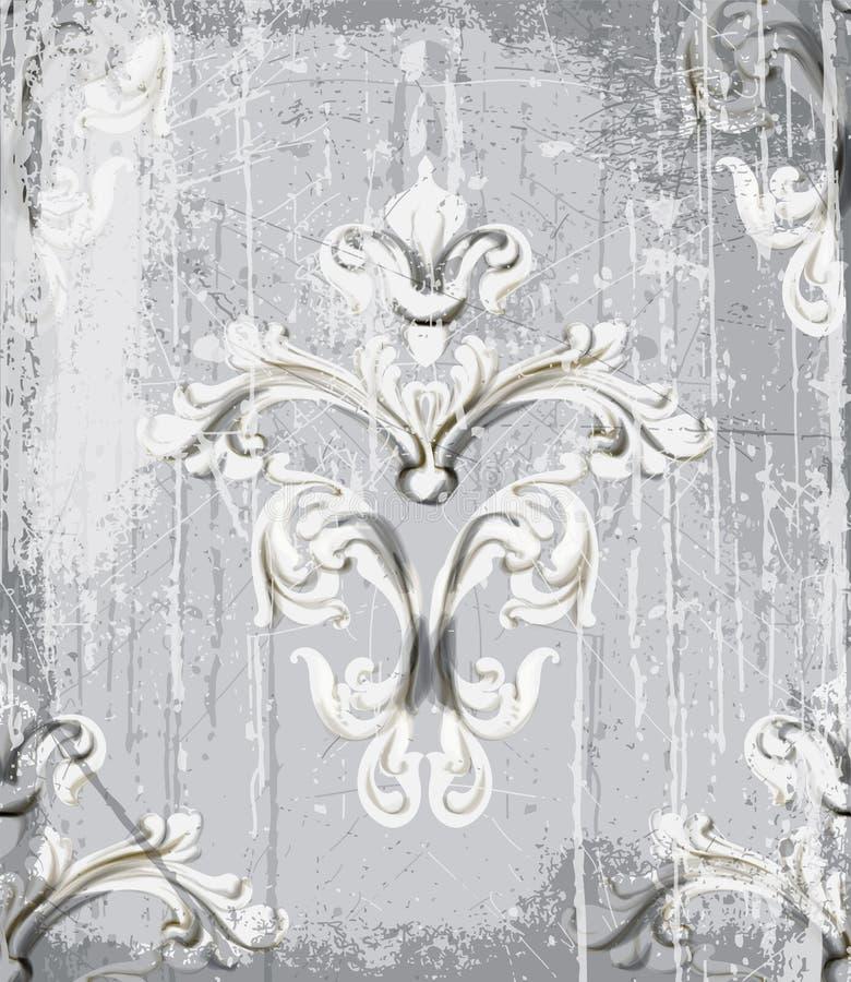 Vecteur argenté de modèle d'ornement de cru Conception de luxe de texture rococo baroque D?cors royaux de textile Vieux peint illustration stock