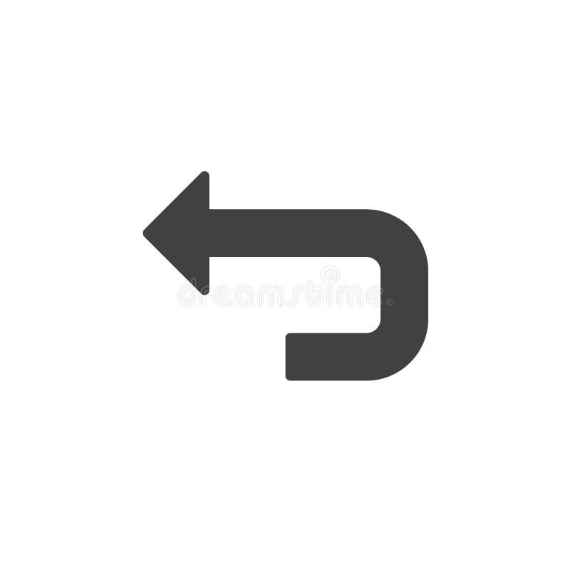 Vecteur arrière d'icône de flèche, signe plat rempli, pictogramme solide d'isolement sur le blanc illustration stock
