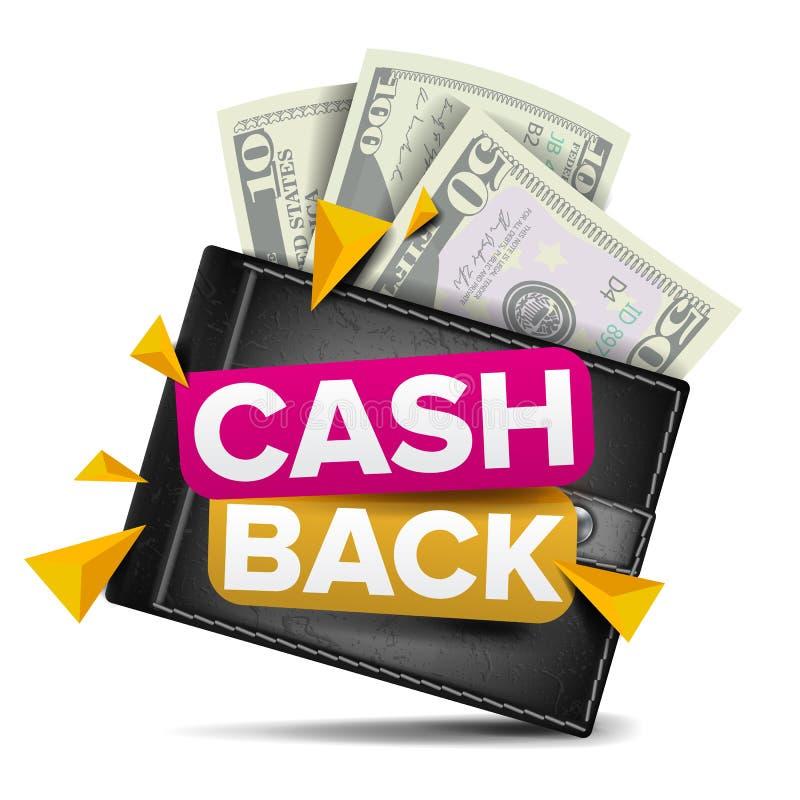 Vecteur arrière de concept d'argent liquide Portefeuille réaliste, monnaie fiduciaire Paiement en ligne, faisant des emplettes Si illustration libre de droits