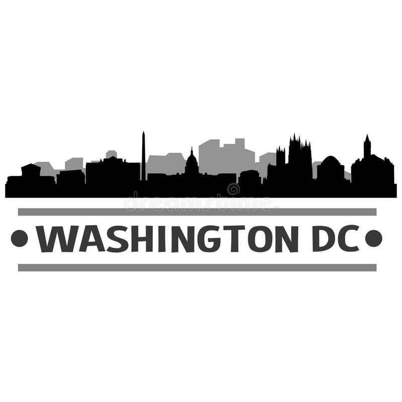 Vecteur Art Design d'icône de ville d'horizon de Washington DC illustration de vecteur