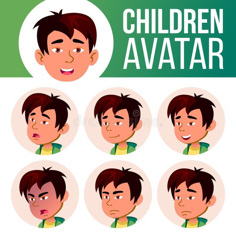 Vecteur asiatique d'enfant d'ensemble d'avatar de garçon École primaire Faites face aux émotions Massage facial, les gens Mignon, illustration de vecteur
