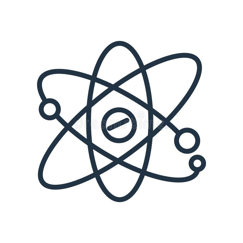 Vecteur atomique d'icône d'isolement sur le fond blanc, signe atomique illustration stock