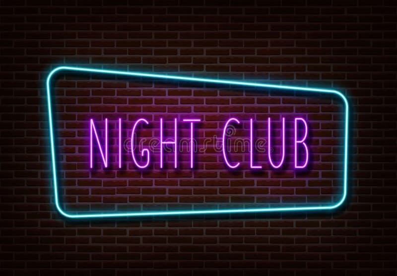 Vecteur au néon de signe de boîte de nuit Bannière légère d'isolement sur le mur de briques Calibre au néon de lumière des textes illustration stock