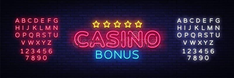 Vecteur au néon des textes de bonification de casino Enseigne au néon de bonification, calibre de conception, conception moderne  illustration stock