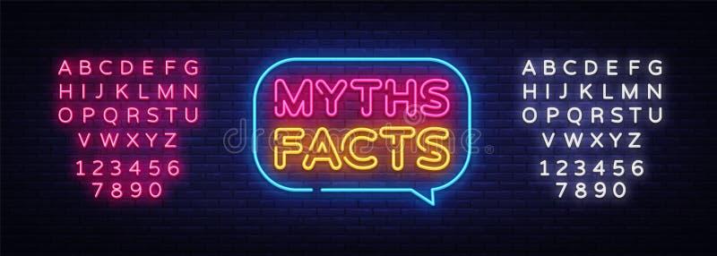 Vecteur au néon des textes de faits de mythes Enseigne au néon de faits de mythes, calibre de conception, conception moderne de t illustration stock