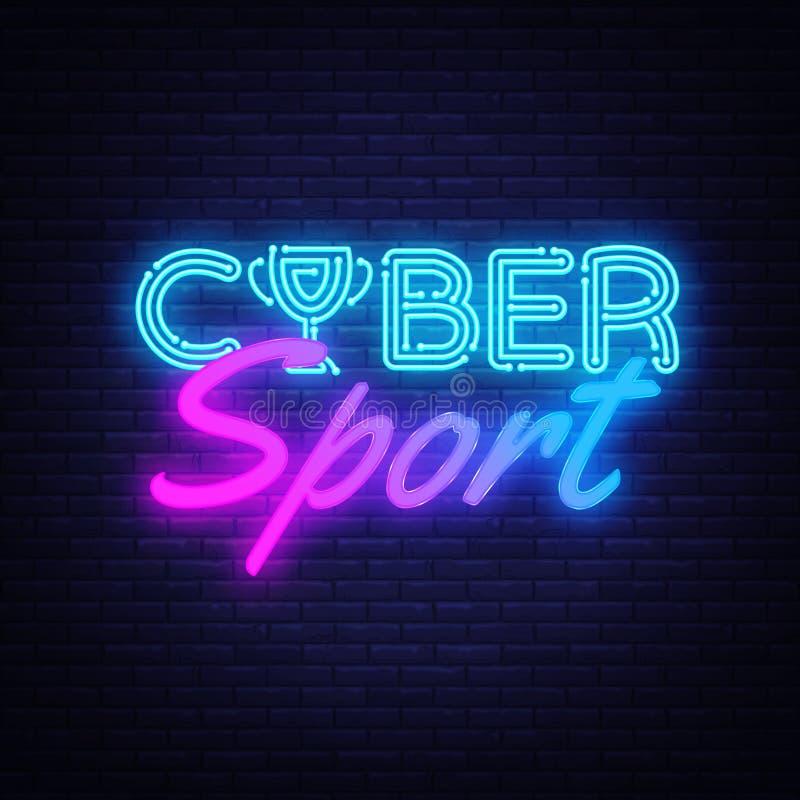 Vecteur au néon des textes de sport de Cyber Enseigne au néon de jeu, calibre de conception, conception moderne de tendance, ense illustration stock