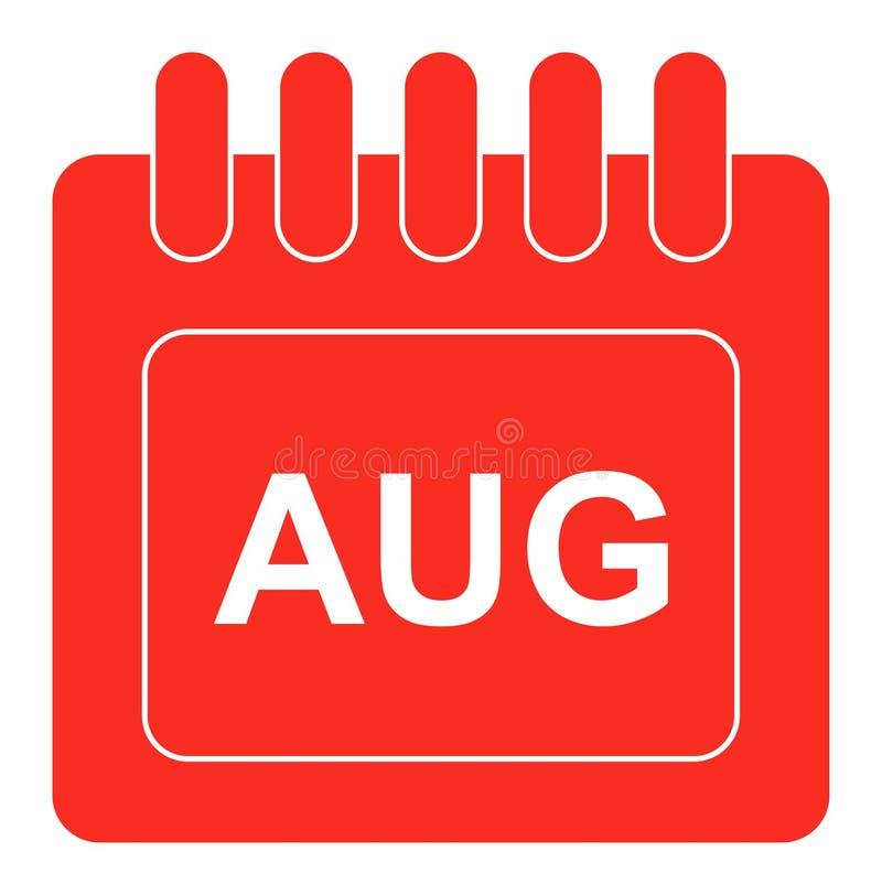 Vecteur auguste sur l'icône mensuelle de rouge de calendrier illustration libre de droits