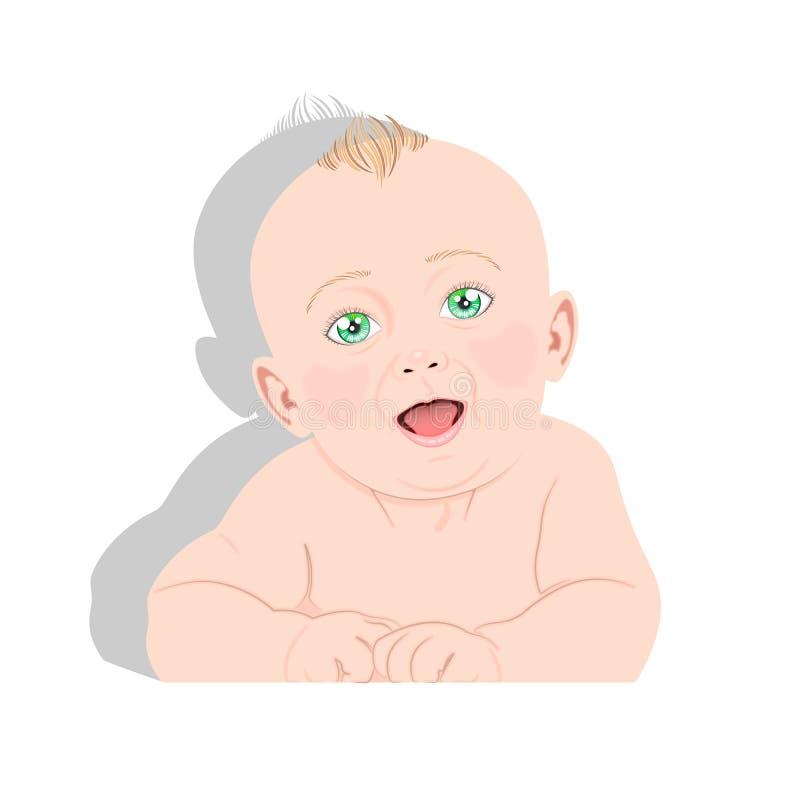 Vecteur aux yeux verts de bébé images stock