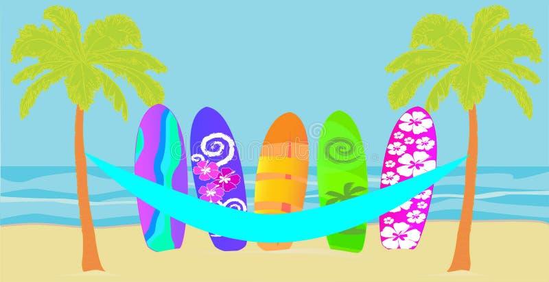 Vecteur avec les palmiers, l'hamac paraguayen, et la planche de surf colorée sur la plage photos libres de droits