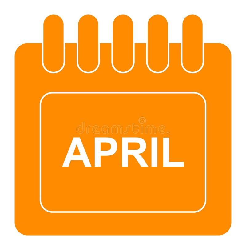 Vecteur avril sur l'icône mensuelle d'orange de calendrier illustration stock