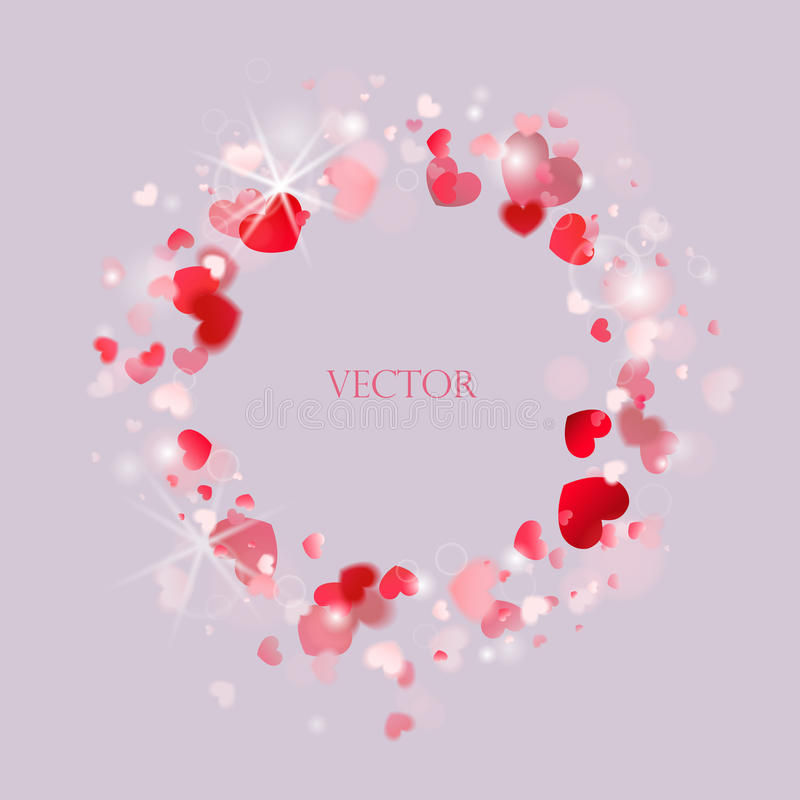 Vecteur Bannière ronde avec les coeurs rougeoyants coeur et cercle rouges illustration de vecteur