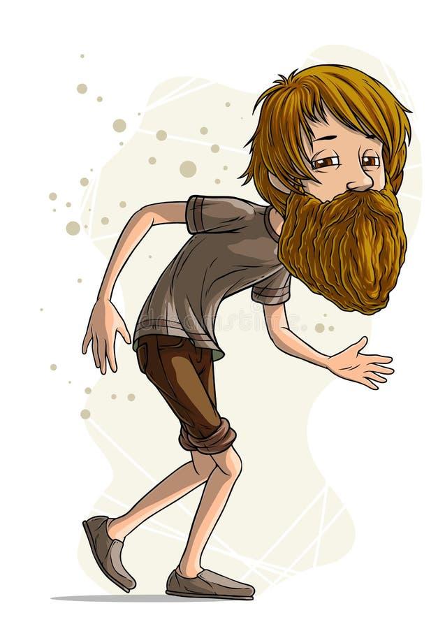 Vecteur barbu drôle de caractère de hippie de bande dessinée illustration libre de droits