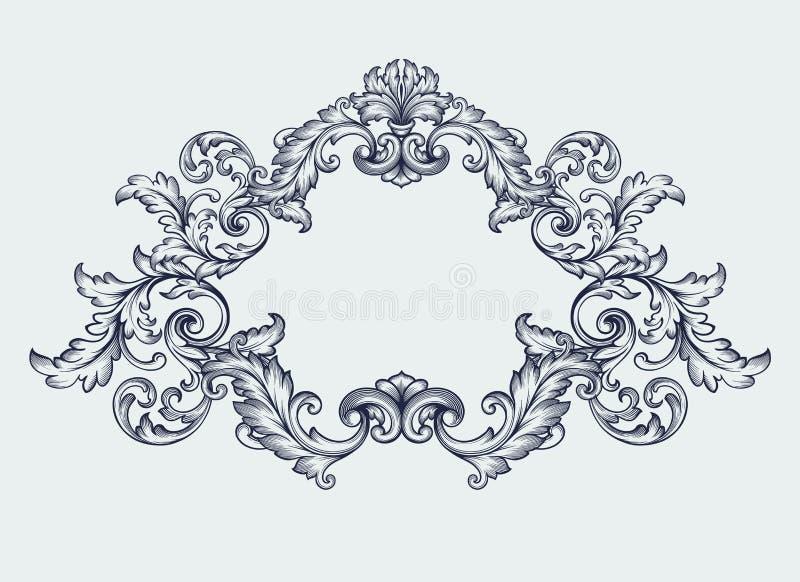 vecteur baroque de conception de rouleau de frontière de cadre de vintage illustration de vecteur