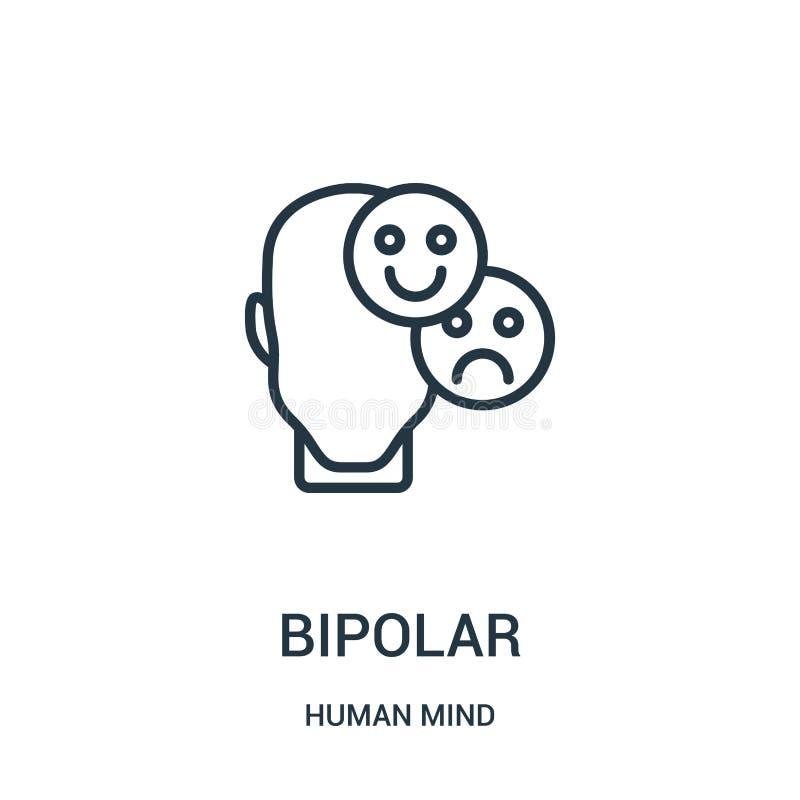 vecteur bipolaire d'icône de collection d'esprit humain Ligne mince illustration bipolaire de vecteur d'icône d'ensemble Symbole  illustration libre de droits