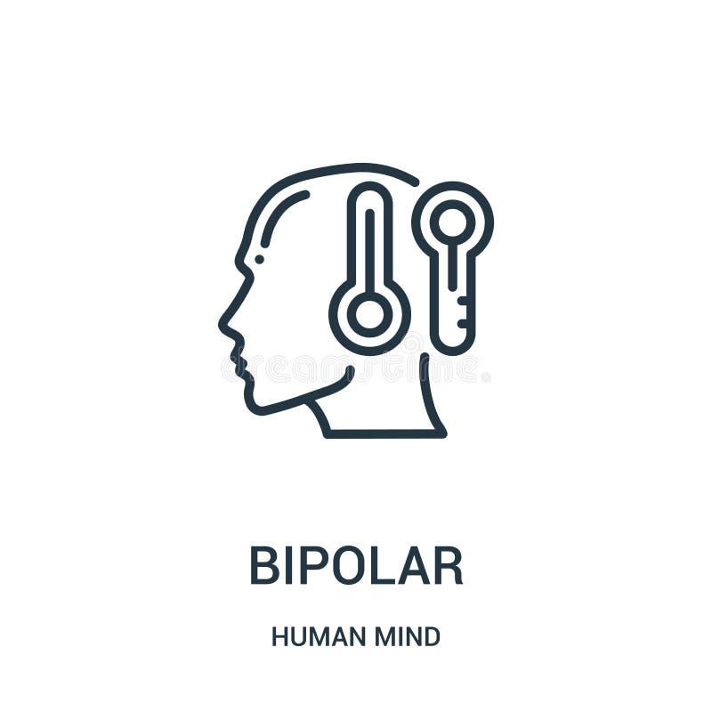 vecteur bipolaire d'icône de collection d'esprit humain Ligne mince illustration bipolaire de vecteur d'icône d'ensemble Symbole  illustration de vecteur