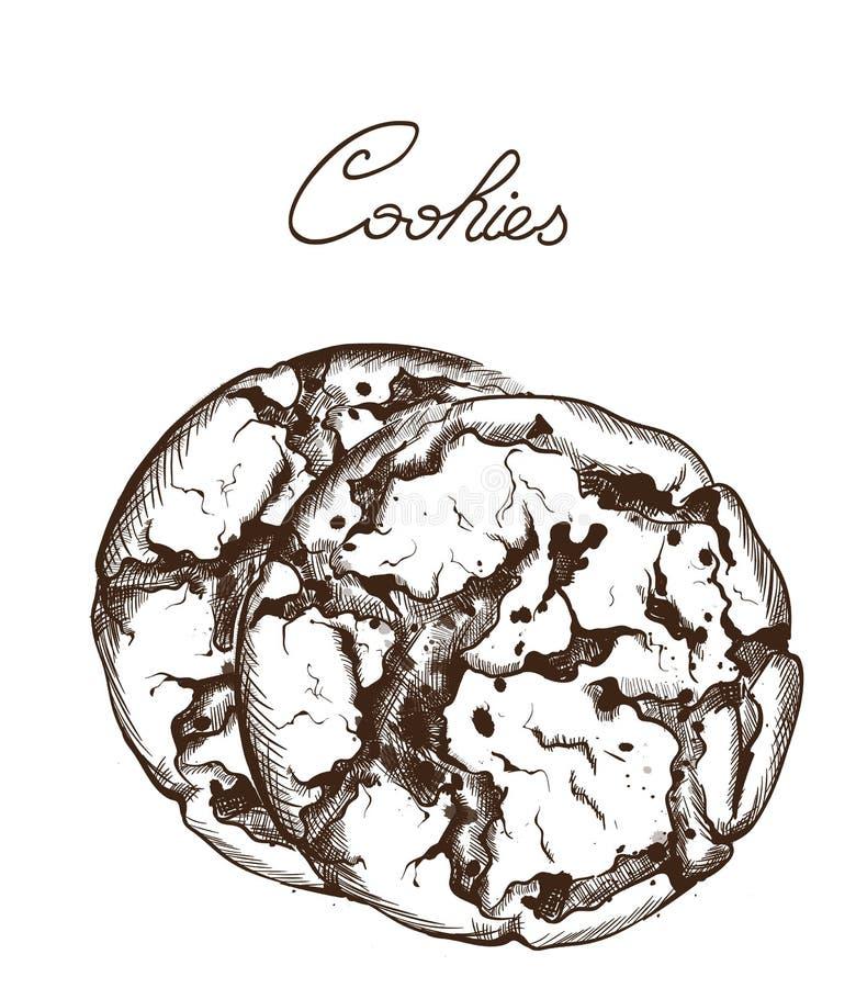 Vecteur biscuits de schéma Illustrations délicieuses de bonbons d'isolement illustration de vecteur