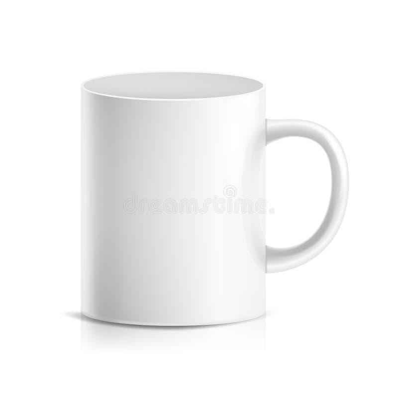 Vecteur blanc de tasse tasse en céramique 3D ou en plastique réaliste d'isolement sur le fond blanc Moquerie classique de tasse d illustration de vecteur