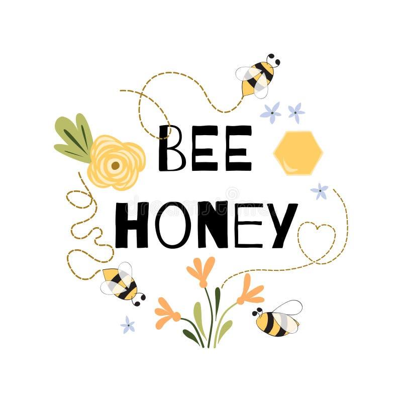 Vecteur blanc jaune d'expression de citation de miel d'abeille d'abeille de fleurs d'impression mignon drôle de miel illustration libre de droits