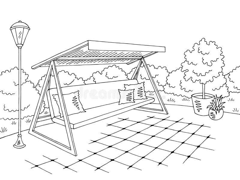 Vecteur blanc noir graphique d'illustration de croquis de paysage d'oscillation de jardin illustration libre de droits