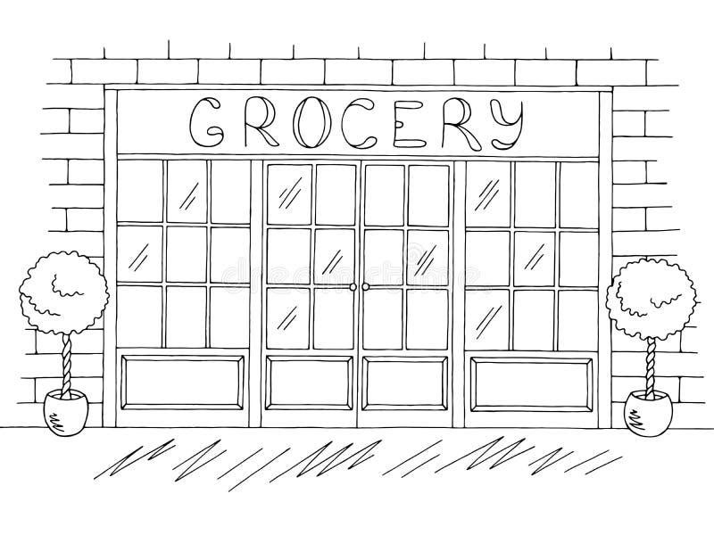 Vecteur blanc noir graphique extérieur d'illustration de croquis de boutique d'épicerie illustration libre de droits