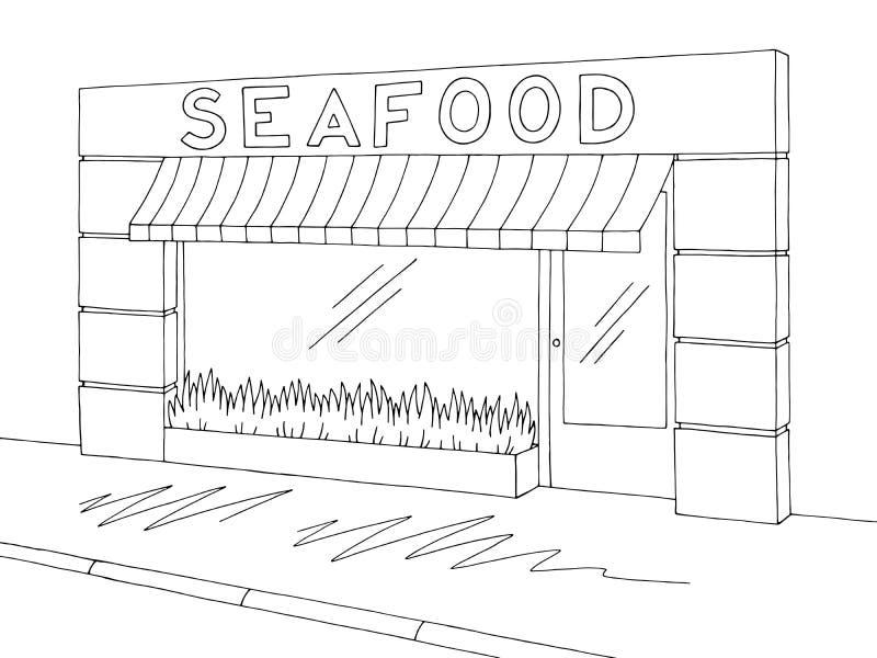 Vecteur blanc noir graphique extérieur d'illustration de croquis de boutique de magasin de fruits de mer illustration de vecteur