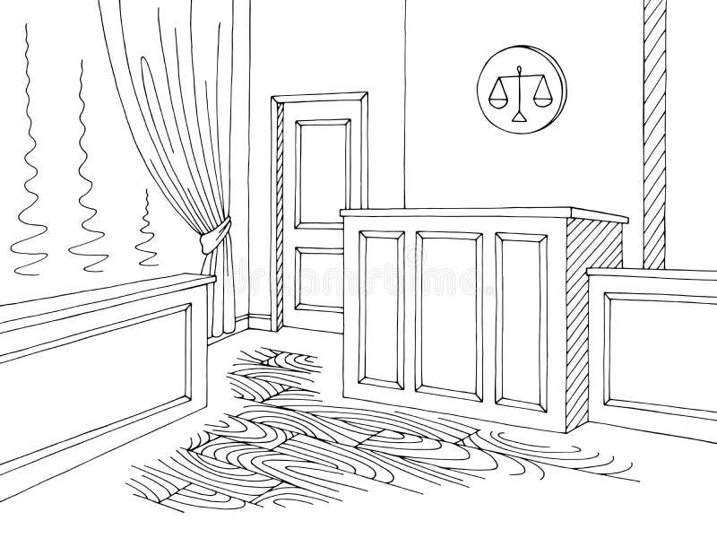 Vecteur blanc noir graphique intérieur d'illustration de croquis de cour illustration libre de droits