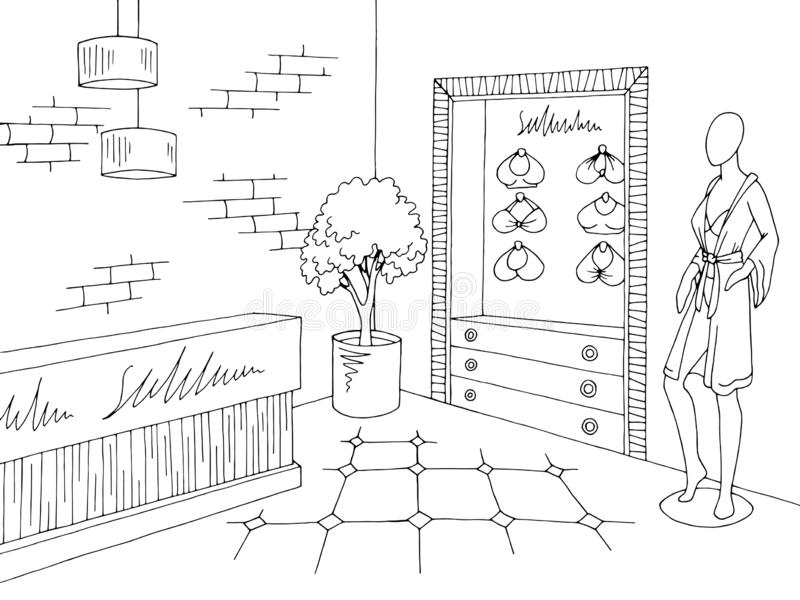 Vecteur blanc noir graphique intérieur d'illustration de croquis de magasin de magasin de lingerie illustration libre de droits