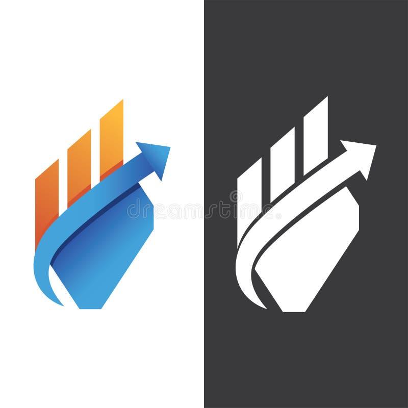 Vecteur blanc plat de logo de gradient de forme de diagramme de flèche illustration stock