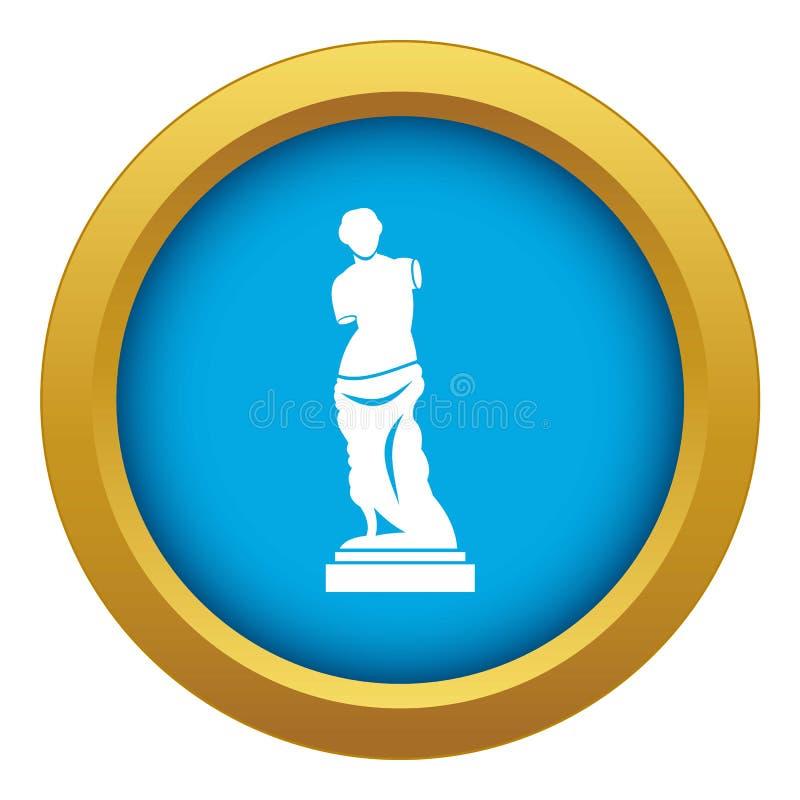 Vecteur bleu d'icône antique de statue d'isolement illustration stock