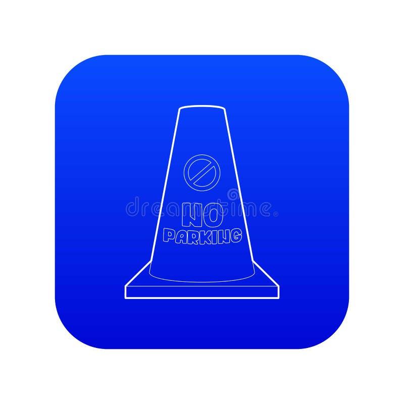 Vecteur bleu d'icône de cône de stationnement interdit illustration libre de droits