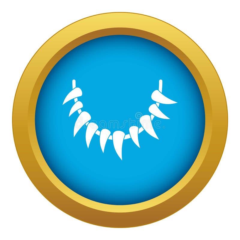 Vecteur bleu d'icône de collier de dent d'isolement illustration libre de droits
