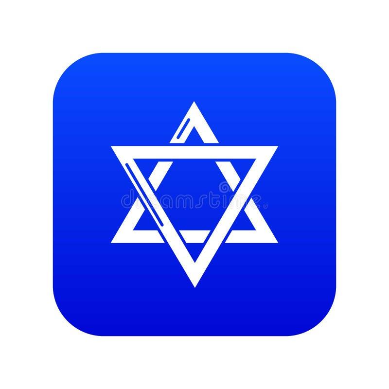 Vecteur bleu d'icône de judaism de David d'étoile illustration libre de droits