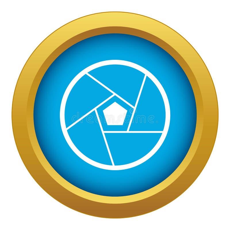 Vecteur bleu d'icône de lentille photographique d'isolement illustration stock