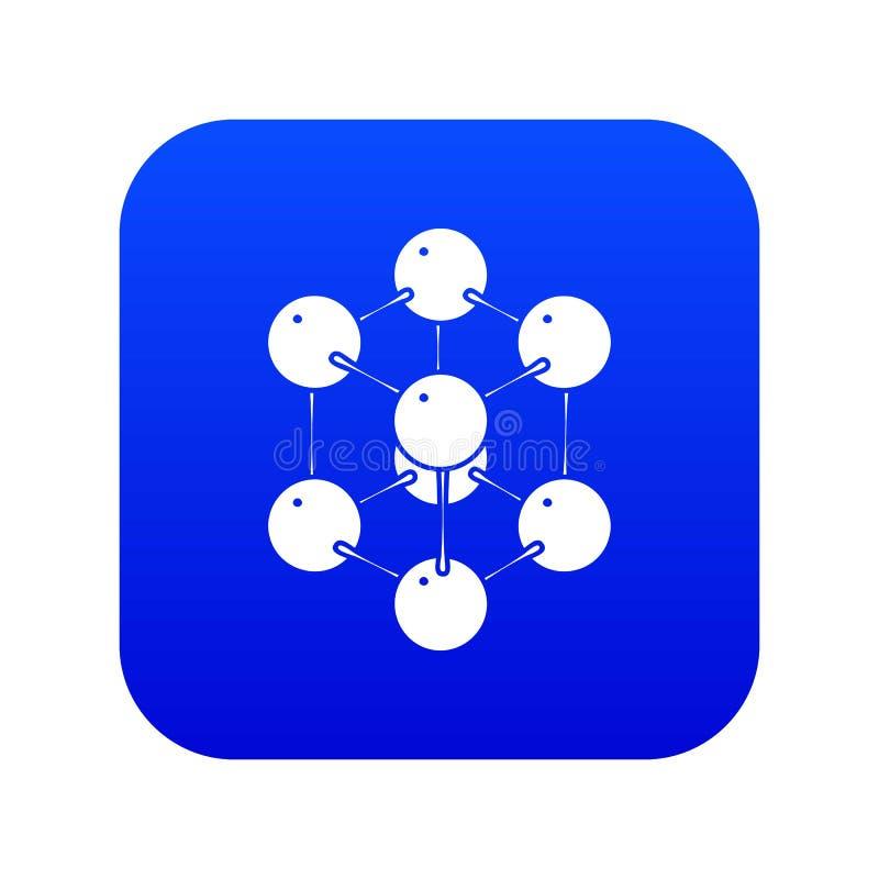 Vecteur bleu d'icône de molécule de cube illustration stock