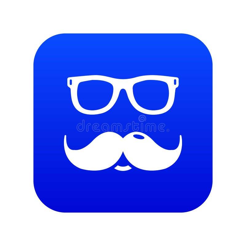 Vecteur bleu d'icône de moustaches en verre de ballot illustration libre de droits