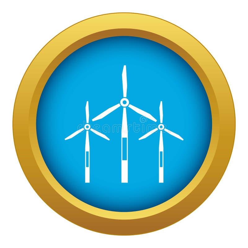 Vecteur bleu d'icône de turbines de générateur de vent d'isolement illustration libre de droits