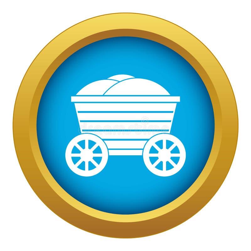 Vecteur bleu d'icône en bois de chariot de cru d'isolement illustration libre de droits