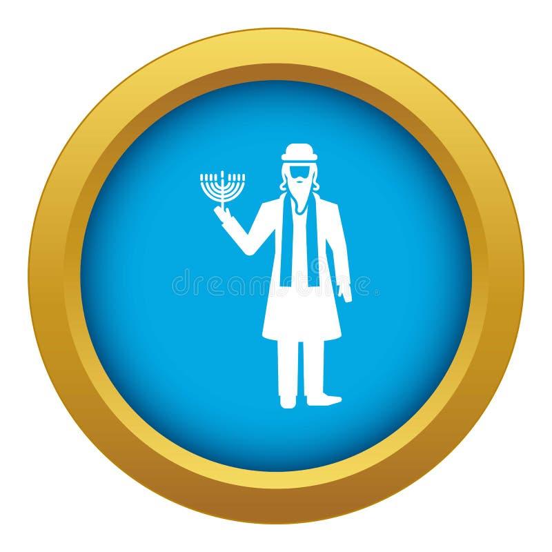 Vecteur bleu d'icône juive d'homme d'isolement illustration libre de droits