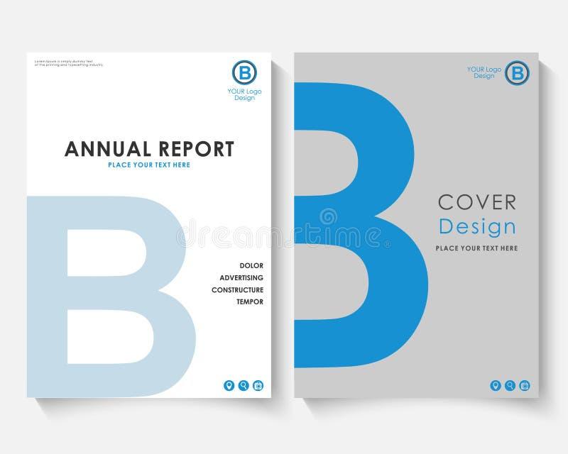 Vecteur bleu de calibre de conception de couverture de rapport annuel de lettre Portfolio de site Web de présentation de concept  illustration stock