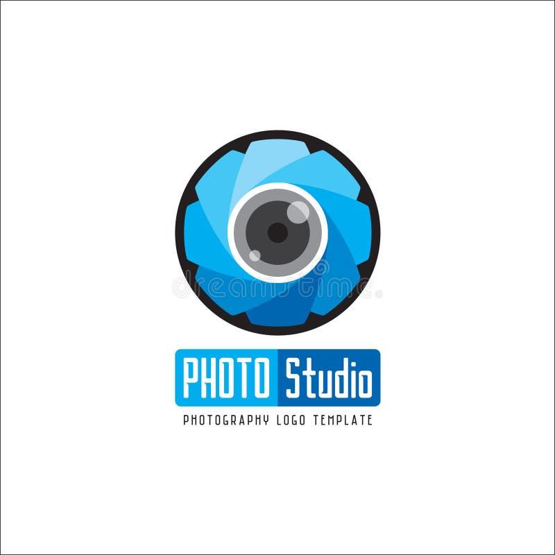 Vecteur bleu de calibre de logo de photographie de studio de photo illustration de vecteur