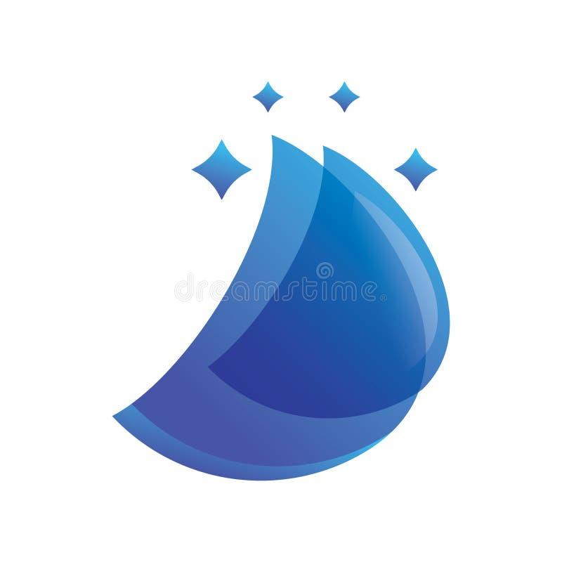 Vecteur bleu de logo d'étincelle de couche de feuille illustration stock