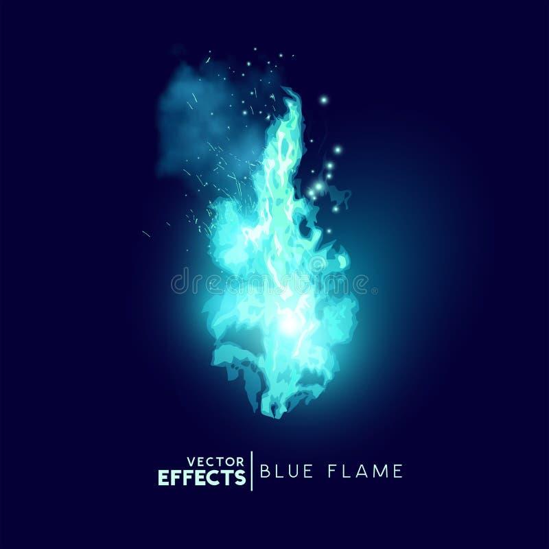 Vecteur bleu mystique de flammes du feu illustration libre de droits