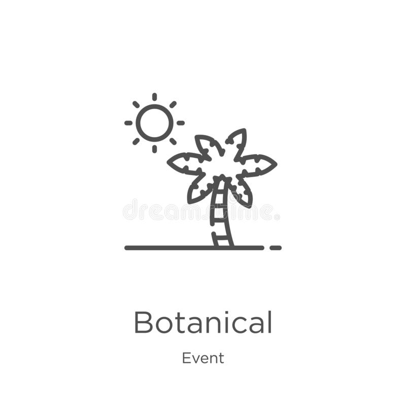vecteur botanique d'icône de collection d'événement Ligne mince illustration botanique de vecteur d'icône d'ensemble Contour, lig illustration de vecteur