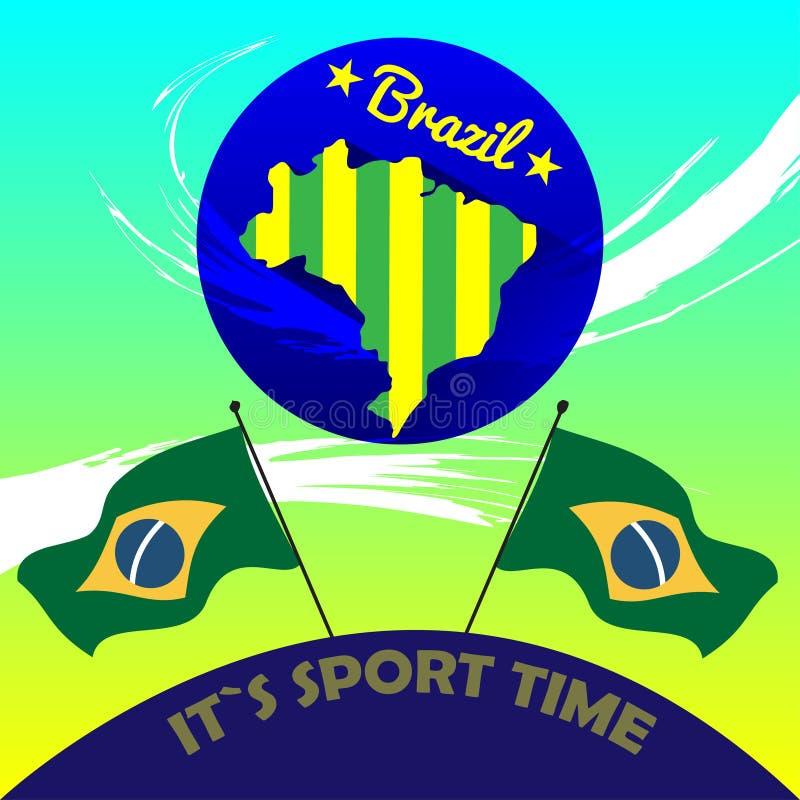 Vecteur Brésil de Digital il est temps de sport illustration stock