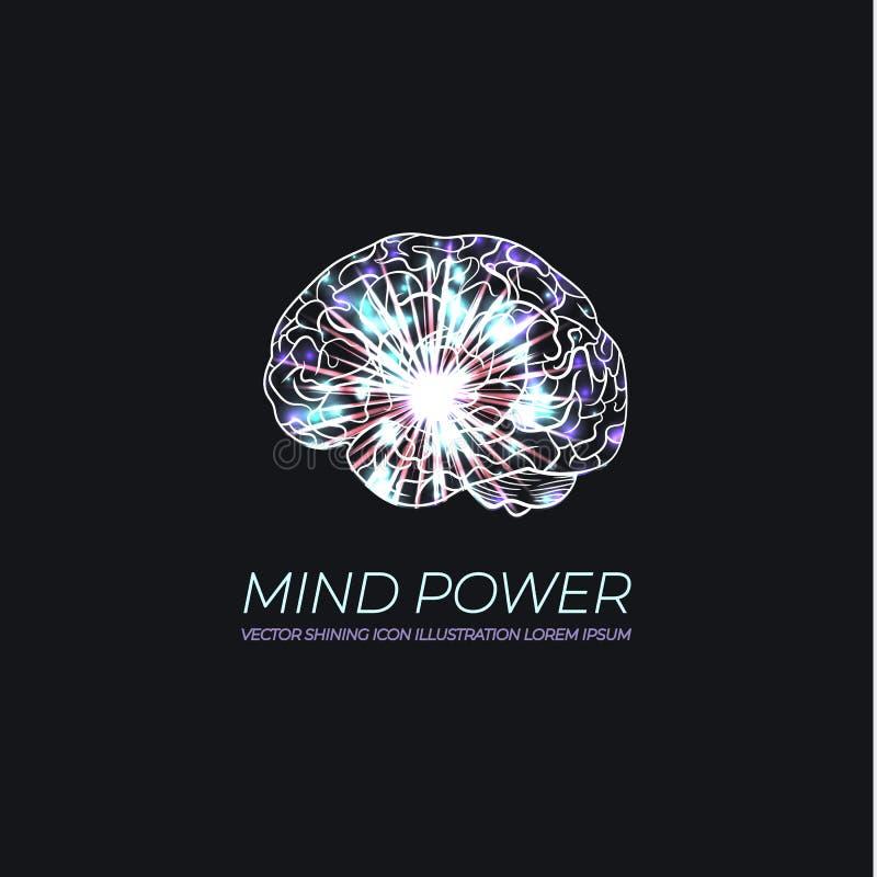 Vecteur Brain Illustration rougeoyant, logo au néon, image scientifique de cerveau, Intellegence artificiel illustration libre de droits